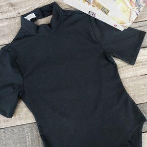 FRAME Backless Short Sleeve Mock Neck Bodysuit